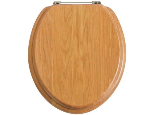 Heritage Standard WC Seat With Chrome Finish Hinges - Oak (11506)