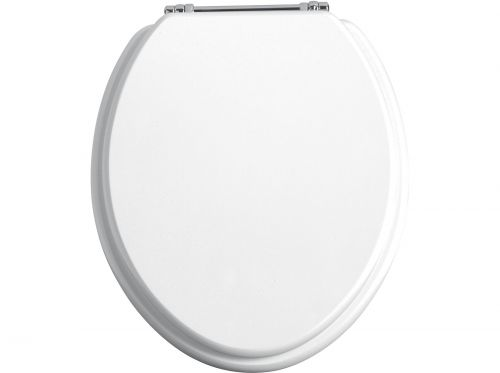 Heritage Standard WC Seat With Chrome Finish Hinges - White Gloss (11507)