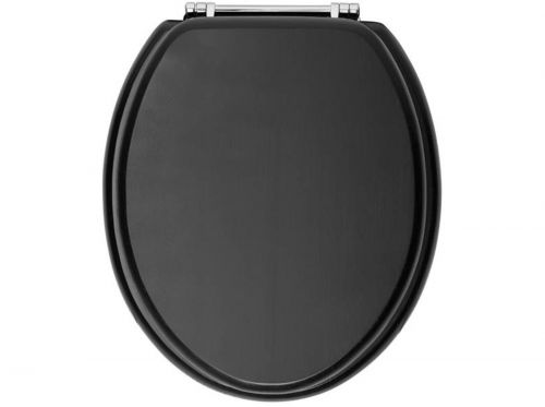 Heritage Standard WC Seat With Chrome Finish Hinges - Graphite (11511)