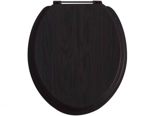 Heritage Standard WC Seat With Gold Finish Hinges - Black (17348)
