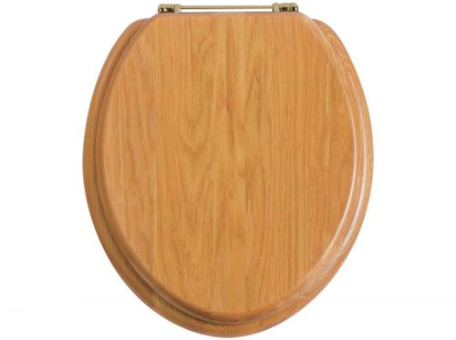 Heritage Standard WC Seat With Gold Finish Hinges - Oak (11514)