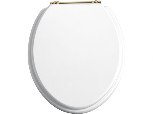 Heritage Standard WC Seat With Gold Finish Hinges - White Gloss (11515)