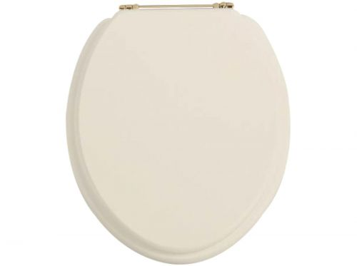 Heritage Standard WC Seat With Gold Finish Hinges - Oyster (11517)