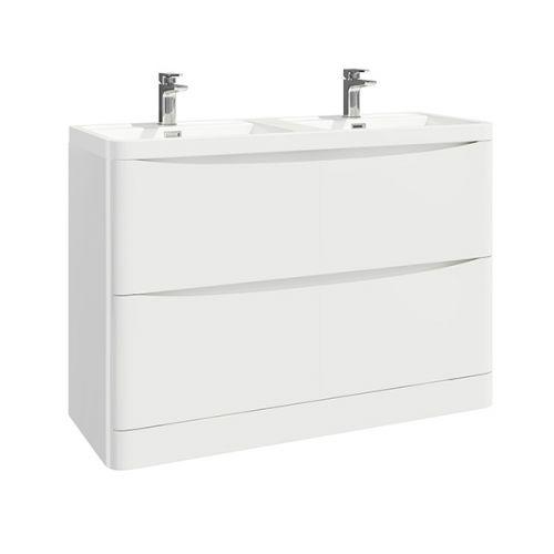 Baltimore 1200mm Floorstanding Vanity Unit & Double Basin - Gloss White (19020)