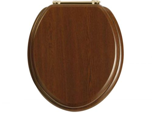 Heritage Standard WC Seat With Gold Finish Hinges - Walnut (12580)