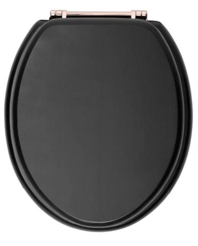 Heritage Standard WC Seat With Rose Gold Finish Hinges - Graphite (12582)