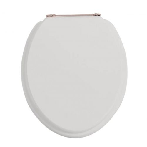 Heritage Standard WC Seat With Rose Gold Finish Hinges - Dove Grey (12583)