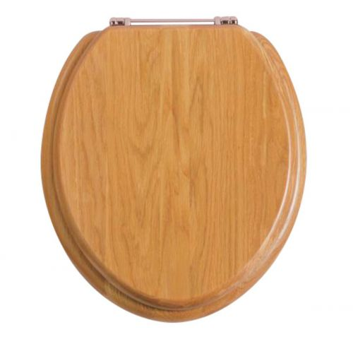 Heritage Standard WC Seat With Rose Gold Finish Hinges - Oak (12584)