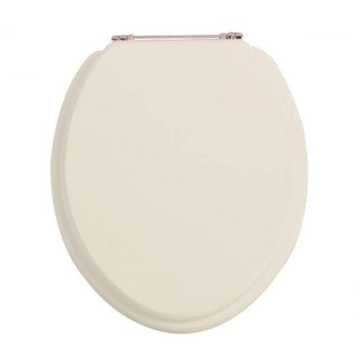Heritage Standard WC Seat With Rose Gold Finish Hinges - Oyster - 12585