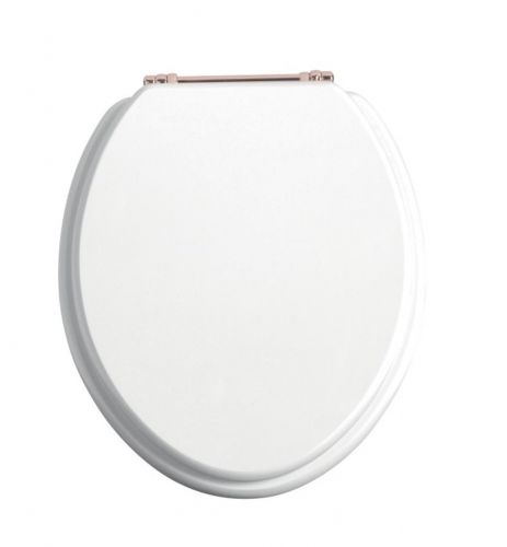 Heritage Standard WC Seat With Rose Gold Finish Hinges - White Gloss (12588)