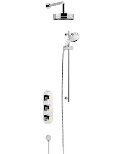 Heritage Lymington Limited Edition Recessed Shower with Lace Gold Handles, Deluxe Fixed Head and Flexible Riser Kit (12688)