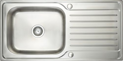 Prima Deep 1.0 Bowl & Drainer Inset Sink - Polished Steel (13198)
