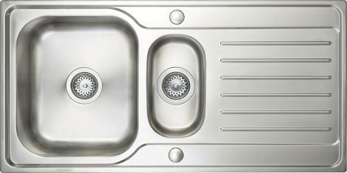 Prima Deep 1.5 Bowl & Drainer Inset Sink - Polished Steel (13221)