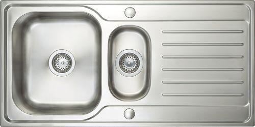 Prima Deep 1.5 Bowl & Drainer Inset Sink - Polished Steel (13221)