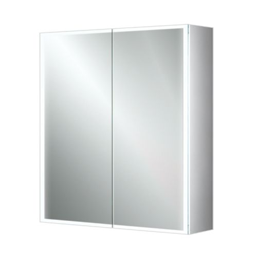 Mia LED Cabinet Double Door Demister and Shaver 800 x 700 - 13628