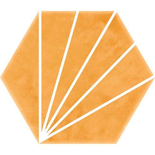 Palm Striped Hexagon Décor Mustard 15 x 17.5cm Porcelain Tile - 0.25sqm perbox (20658)