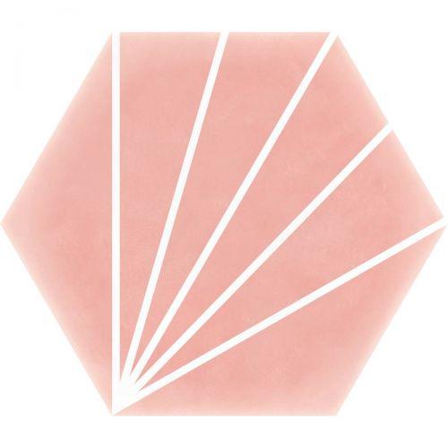 Palm Striped Hexagon Décor Pink 15 x 17.5cm Porcelain Tile - 0.25sqm perbox (20659)