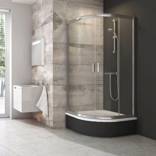 Ravak Sabina 900mm Quadrant Shower Enclosure with Bath Tub Deep Tray (19337)