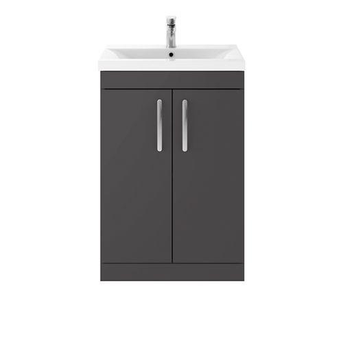 Nuie Athena 600mm 2 Door Floorstanding Vanity Unit & 18mm Minimialist Basin - Gloss Grey