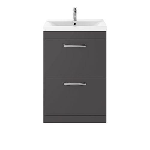 Nuie Athena 600mm 2 Drawer Floorstanding Vanity Unit & 18mm Minimalist Basin - Gloss Grey (19487)