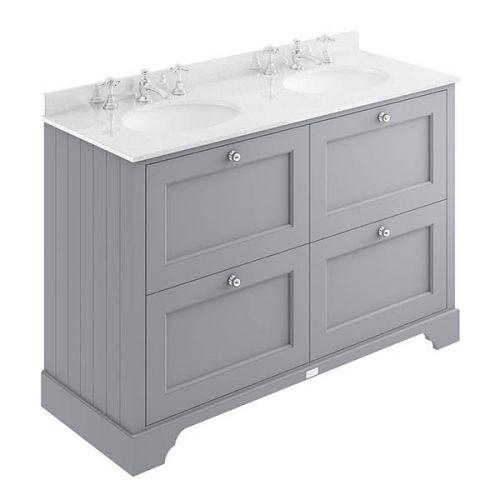 Darlington 1200mm 4 Drawer Vanity Unit, White Worktop & Double Basin - Plummett Grey (18606)
