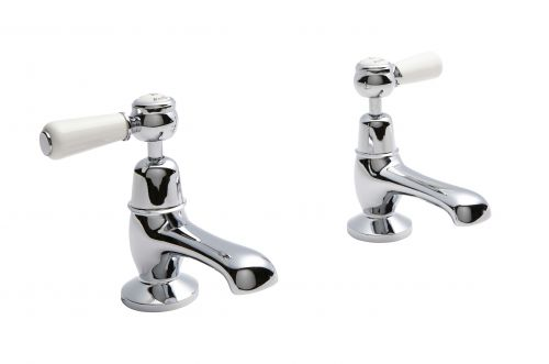 Hudson Reed Topaz With Lever Basin Pillar Taps (Domed Collar)  -  White (BC301DL) - 15279