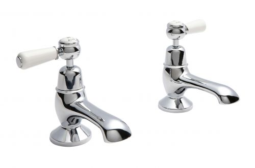 Hudson Reed Topaz With Lever Bath Pillar Taps (Domed Collar)  -  White (BC302DL) - 15281
