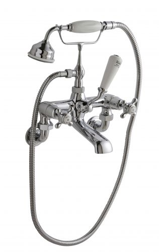 Hudson Reed Topaz With Crosshead Wall Mounted Bath Shower Mixer (Domed Collar)  -  White (BC304DXWM) - 15268