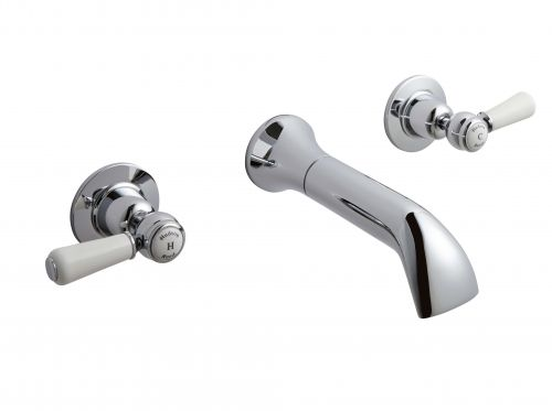 Hudson Reed Topaz With Lever Wall Mounted Bath Spout & Stop Taps (Domed Collar)  -  White (BC309DL) - 15293