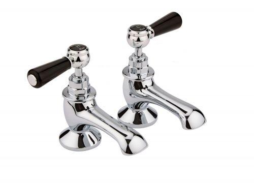 Hudson Reed Topaz With Lever Bath Pillar Taps (Hexagonal Collar)  -  Black (BC402HL) - 15250