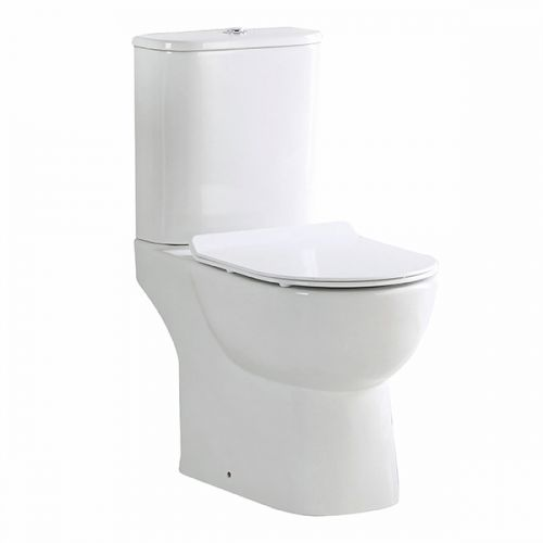 Belini Rimless Close Coupled Open Back Toilet & Soft Close Seat (19527)