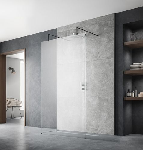 Hudson Reed 1400mm Wetroom Screen With Arms and Feet - Black BGPAF14 (17198)