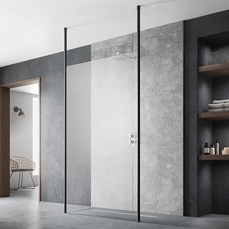Hudson Reed 800mm Wetroom Screen With Ceiling Post - Black BGPCP080 (17200)