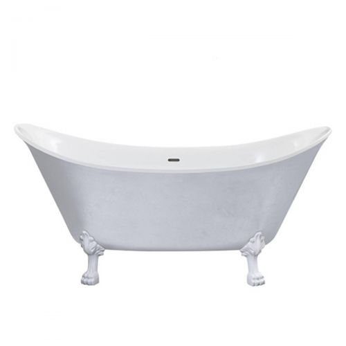 Heritage Lyddington Acrylic Double Ended Slipper Bath with Feet  - Stainless Steel Effect (8238)