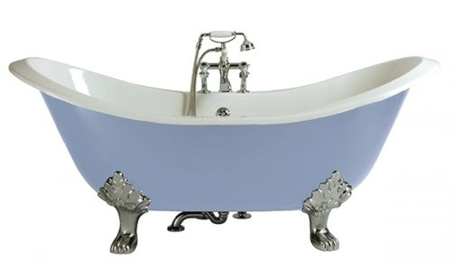 Heritage Devon 2 Tap Hole Cast Iron Doubled Ended Bath with Chrome Bath Feet  (17497)