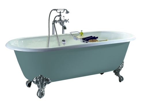 Heritage Baby Buckingham 2 Tap Hole Cast Iron Doubled Ended Bath with Chrome Imperial Bath Feet  (17483)