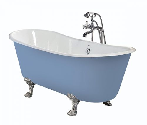 Heritage Porto Santo Bateau 0 Tap Hole Cast Iron Doubled Ended Bath with Chrome Bath Feet  (17495)