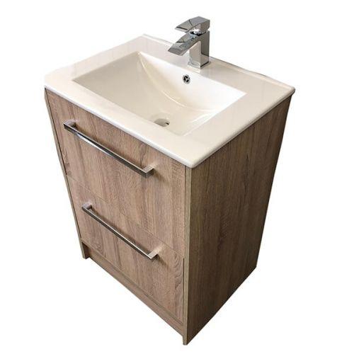 Josef Martin Urbano 600mm Floorstanding 2 Drawer Vanity Unit & Basin - Cambrian Oak (16490)