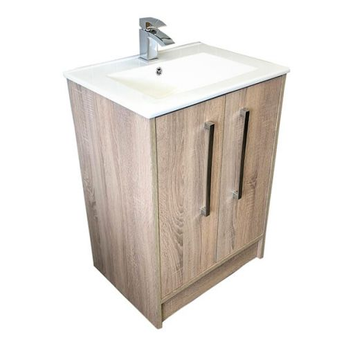 Josef Martin Urbano 600mm 2 Door Floorstanding Vanity Unit & Basin - Cambrian Oak (16274)