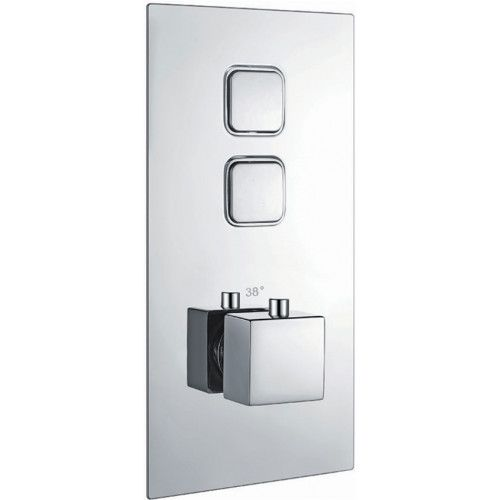Twin Square Push Button Concealed Shower Valve (18534)