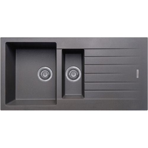 Prima+ Granite 1.5 Bowl & Drainer Inset Sink - Matt Gun Metal Finish (13213)