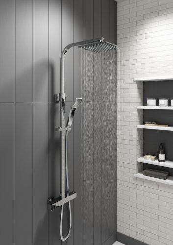 Eliseo Ricci Cube Plus Thermostatic Rain Shower with Diverter (13193)