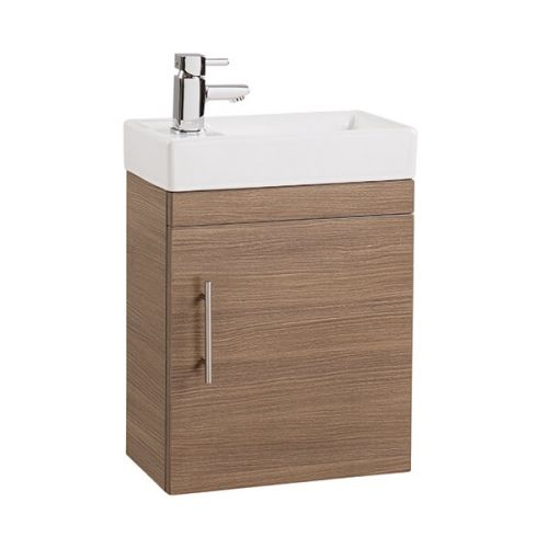 Minuto 400mm Wall Mounted Vanity Unit & Basin - Medium Oak (18866)