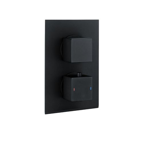Matt Black Two Outlet Concealed Thermostatic Mixer Valve (15018)