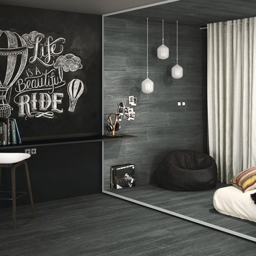 Drake Anthracite 20 x 114cm Rectified Porcelain Wall & Floor Tile - 1.14sqm perbox (18666)