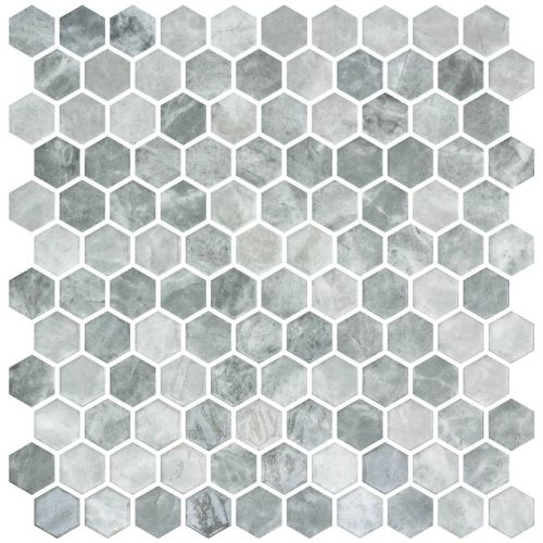 Hex Gray Silver Mix 30.1 x 29.0cm Mosaic Sheet (20447)