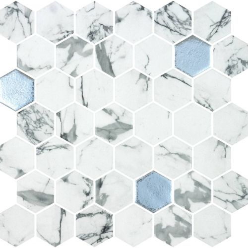 Hex XL Fosco Argent 28.6 x 28.4cm Mosaic Sheet (20445)