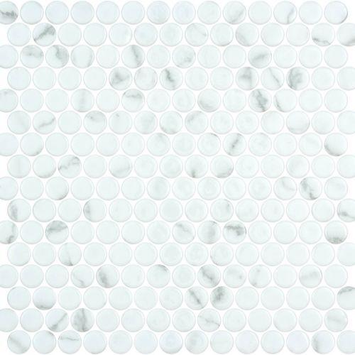 Penny Venato White Shiny Non Slip 28.6 x 28.6cm Mosaic Sheet (20442)
