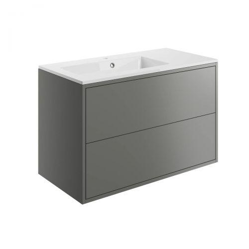 Moods Bathrooms To Love Perla 900mm Wall Hung Vanity Unit & Basin - Matt Grey (20499)