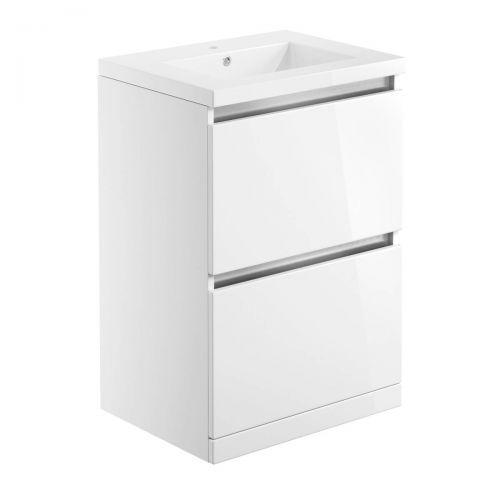 Moods Bathrooms To Love Carino 615mm Floorstanding Vanity Unit & Basin - White Gloss (20496)